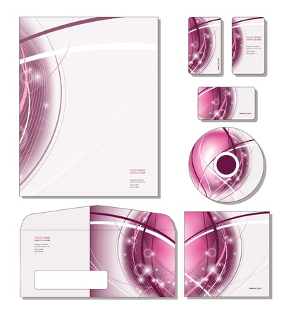 Corporate Template - letterhead, business and gift cards, cd, cd cover, envelope.  Stock Vector - 12103890