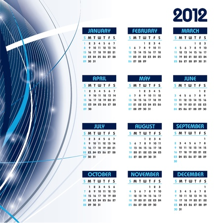 2012 Calendar.  Illustration