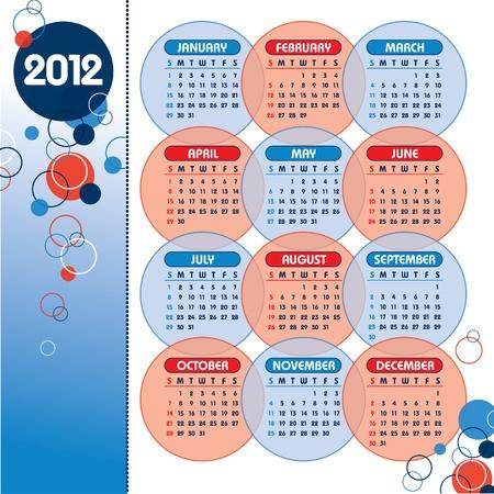 2012 Calendar. Vector Illustration.