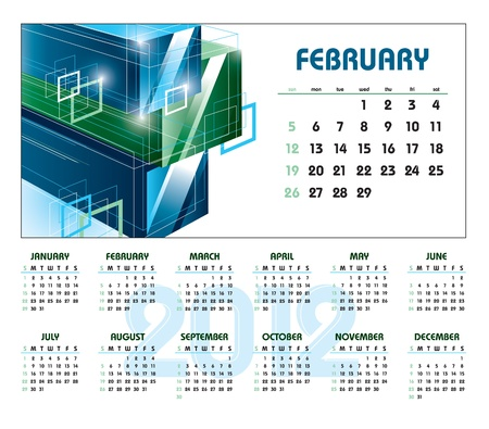 Calendar for 2012. February.  Stock Vector - 12103852