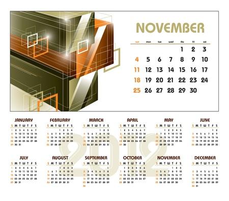 Calendar for 2012. November. 矢量图像