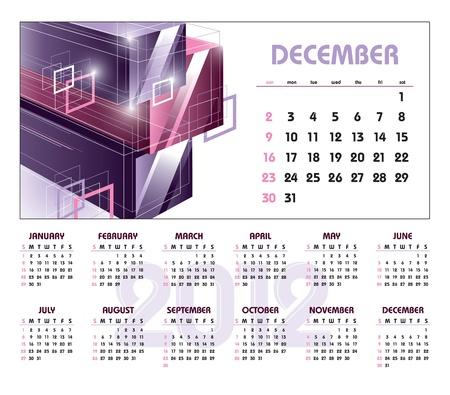 december: Calendar for 2012. December.