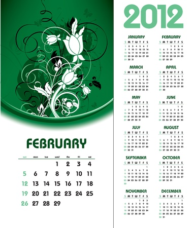 Calendar for 2012. February. Illustration