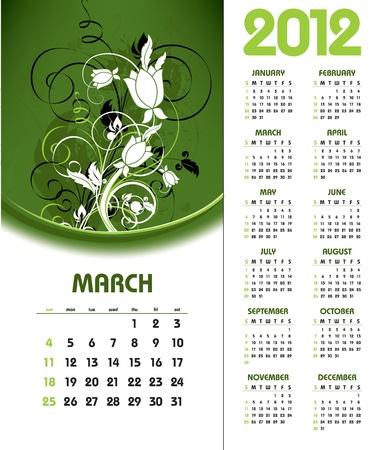 2012 Calendar. March.