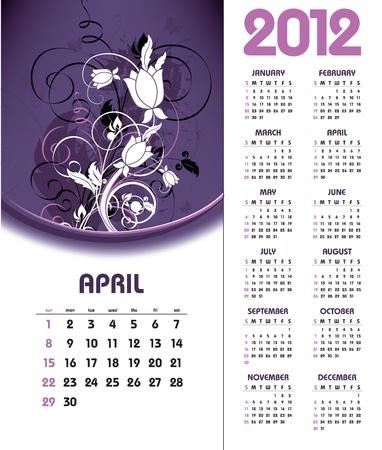 2012 Calendar. April.