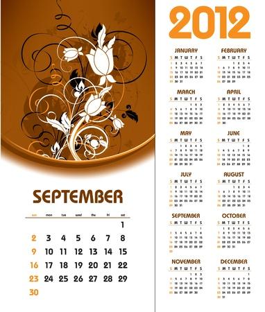 2012 Calendar. September.