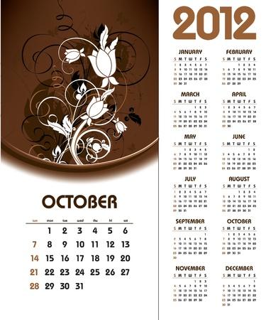 kalender oktober: 2012 Calendar. Oktober.