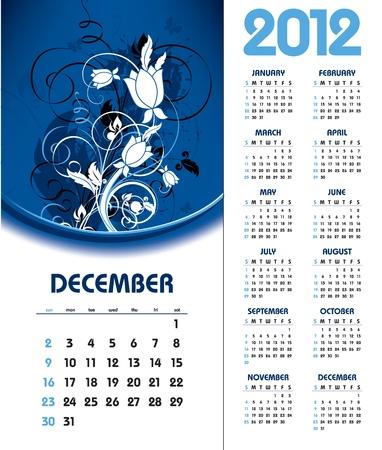 december kalender: 2012 Calendar. December. Stock Illustratie