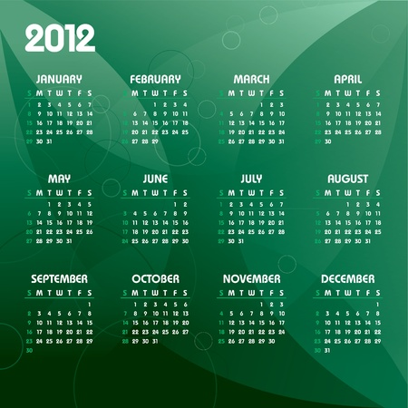 Calendar for 2012. Eps10.  Vector