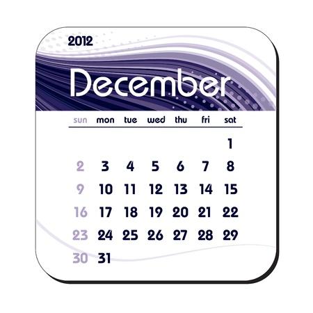 december: 2012 Calendar. December. Illustration