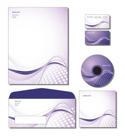 기업의 정체성 템플릿 - 레터 헤드, 비즈니스 및 선물 카드, CD, CD 커버, 봉투. 일러스트