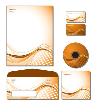Corporate Identity Template - letterhead, business and gift cards, cd, cd cover, envelope.  Vector