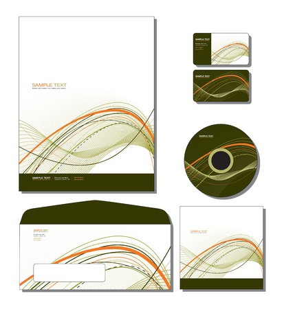 business card template: Corporate Identity Template - letterhead, business and gift cards, cd, cd cover, envelope.