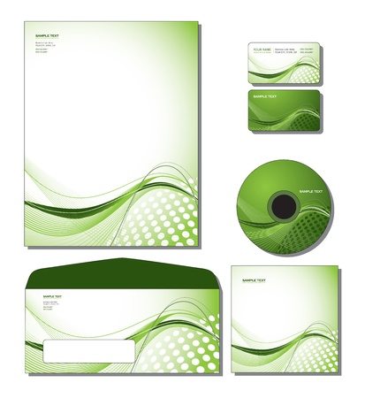 Corporate Identity Template Vector - letterhead, business and gift cards, cd, cd cover, envelope. Vector