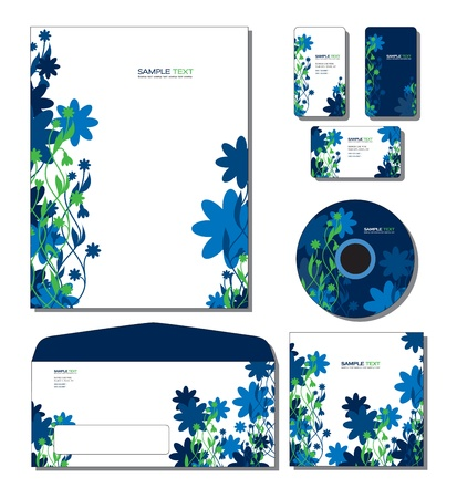 Corporate Identity Template Vector - letterhead, business and gift cards, cd, cd cover, envelope. Ilustração