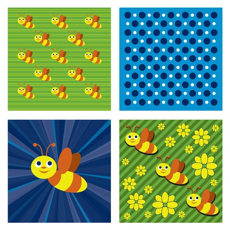 Abstract Vector Background with Bees.  Ilustração
