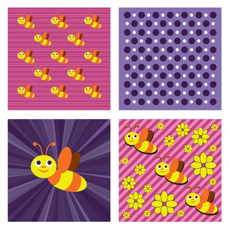 Abstract Vector Background with Bees.  Illustration