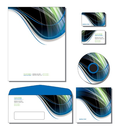 Corporate Identity Template - letterhead, business and gift cards, cd, cd cover, envelope   向量圖像
