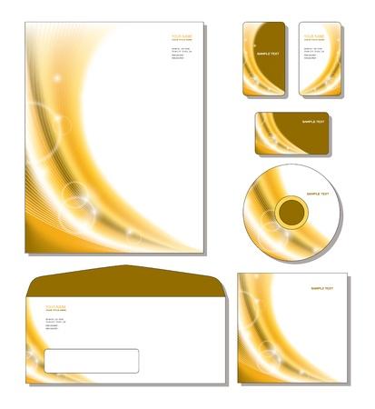 Plantilla de identidad corporativa - tarjetas de papel con membrete, de negocios y de regalo, cd, portada del CD, sobres Foto de archivo - 12974382