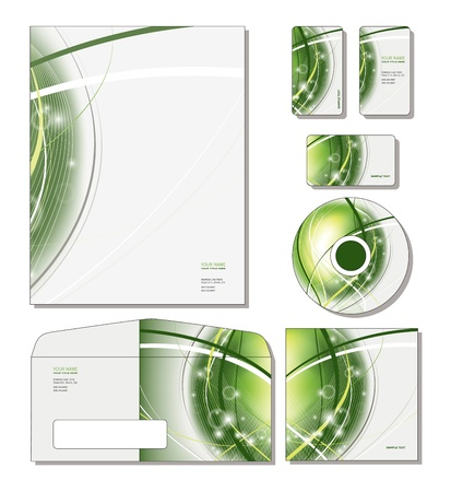 Corporate Identity Template - letterhead, business and gift cards, cd, cd cover, envelope   Vector