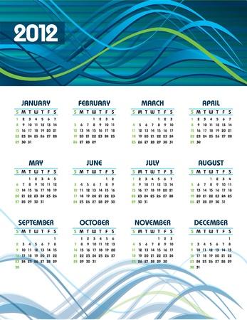 thursday: 2012 Calendar  Vector Illustration