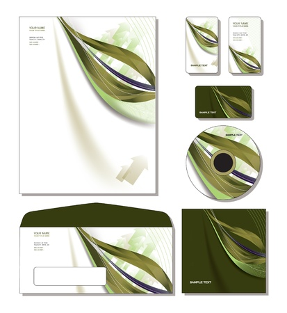 pen and paper: Identity System Template - letterhead, business and gift cards, cd, cd cover, envelope