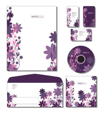 Plantilla de identidad del sistema - las tarjetas de papel con membrete, de negocios y de regalo, cd, portada del CD, sobres Foto de archivo - 13094063