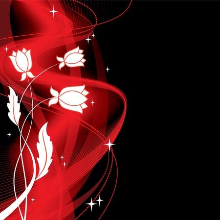 red wallpaper: Floral Background  Vector Illustration