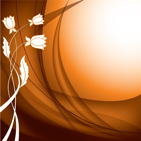 brown swirl: Floral Background  Vector Illustration