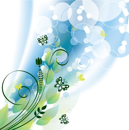 Vector Background  Flowers and Butterflies Stock Vector - 13107168