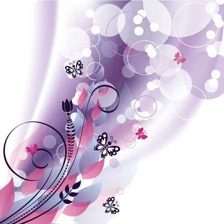 Vector Background  Flowers and Butterflies