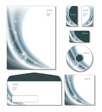 calling: Corporate Identity Template Vector - letterhead, business and gift cards, cd, cd cover, envelope.  Illustration