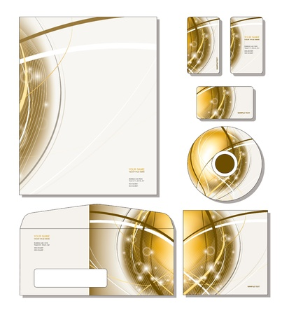 Corporate Identity Template Vector - letterhead, business and gift cards, cd, cd cover, envelope. Stock Vector - 13354551