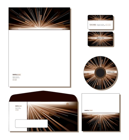 Corporate Identity Template Vector - letterhead, business and gift cards, cd, cd cover, envelope   Vector