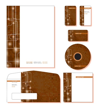 Corporate Identity Template Vector - letterhead, business and gift cards, cd, cd cover, envelope   Illustration