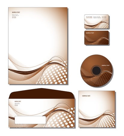 lines: Corporate Identity Template Vector - letterhead, business and gift cards, cd, cd cover, envelope   Illustration