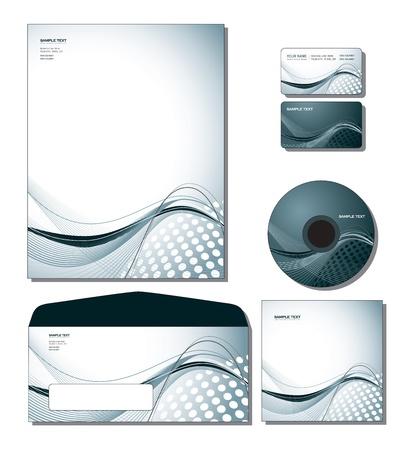 企業の Id テンプレート ベクトル - レターヘッド、ビジネス、ギフト カード、cd、cd カバー、封筒