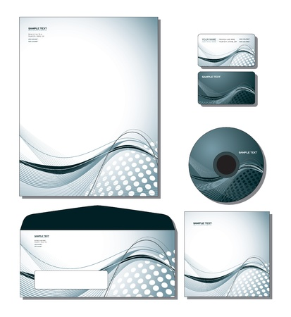 Corporate Identity Template Vector - letterhead, business and gift cards, cd, cd cover, envelope   Çizim