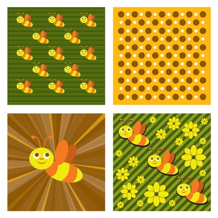 Abstract Backgrounds with Bees  Vector