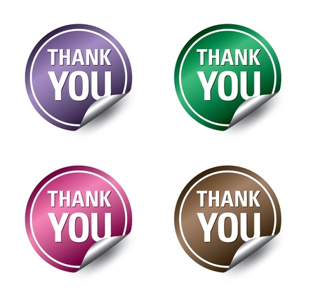 sticky note: Vector  thank you  stickers  Illustration