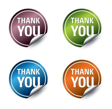 Vector  thank you  stickers  Ilustração