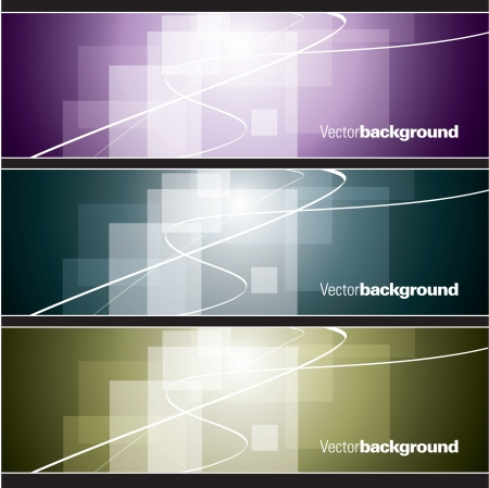 green lines: Set of Banners  Abstract Backgrounds  Illustration