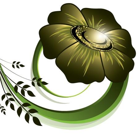 olive green: Floral Background   Illustration
