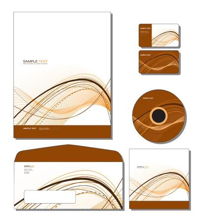 cover: Corporate Template   - letterhead, business and gift cards, cd, cd cover, envelope   Illustration