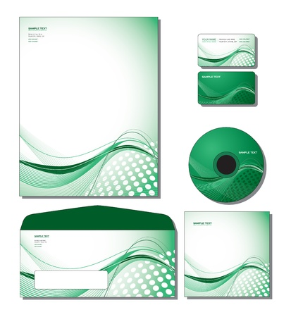 Corporate Template  - letterhead, business and gift cards, cd, cd cover, envelope   向量圖像