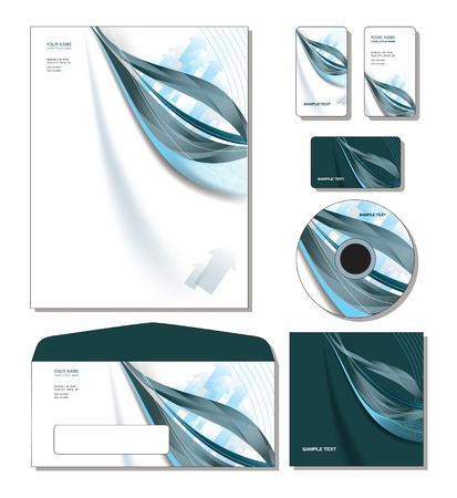 Corporate Template  - letterhead, business and gift cards, cd, cd cover, envelope  Vector