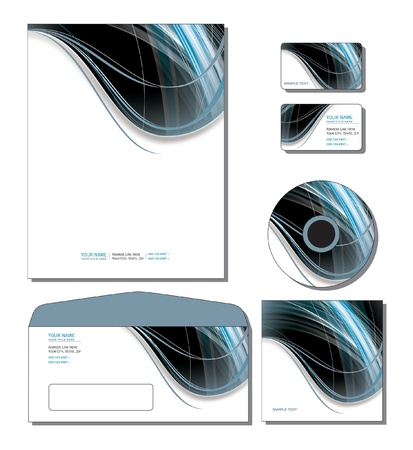 Identity System Template   - letterhead, business and gift cards, cd, cd cover, envelope Stock Vector - 14229146
