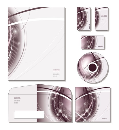 calling art: Identity System Template   - letterhead, business and gift cards, cd, cd cover, envelope   Illustration