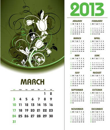 2013 Calendar  March Stock Vector - 14596543
