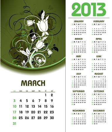 2013 Calendar  March  Vector